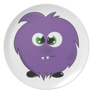 Monstruo púrpura lindo platos para fiestas