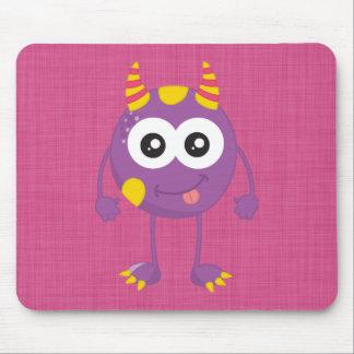 Monstruo púrpura lindo retro alfombrillas de ratones