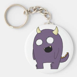 Monstruo púrpura llavero redondo tipo pin