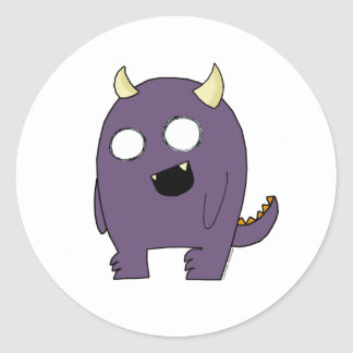 Monstruo púrpura pegatina redonda