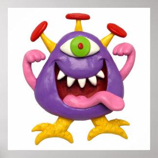 Monstruo púrpura torpe posters