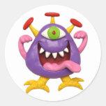 Monstruo púrpura torpe pegatina