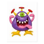 Monstruo púrpura torpe tarjeta postal