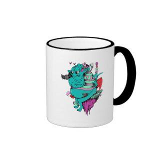 monstruo que se enfurruña con arte del vector de l taza de café