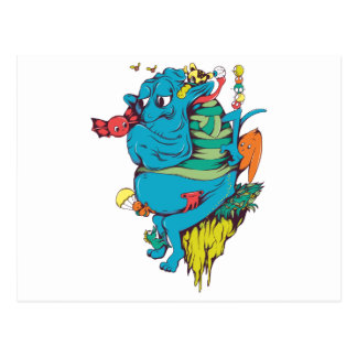 monstruo que se enfurruña con el arte 2 del vector tarjeta postal