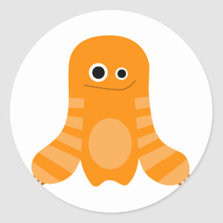 Monstruo rayado anaranjado pegatina redonda