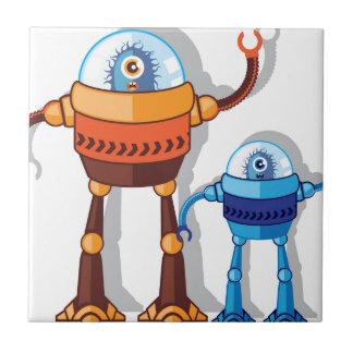 Monstruo robótico azulejo cuadrado pequeño