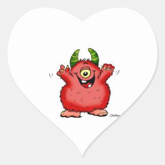Monstruo rojo caprichoso lindo del cyclope por calcomania de corazon