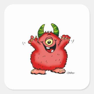Monstruo rojo caprichoso lindo del cyclope por pegatinas cuadradas
