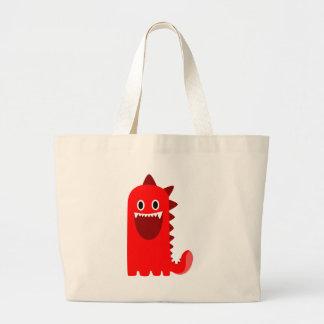 Monstruo rojo de Spikey Bolsa Tela Grande