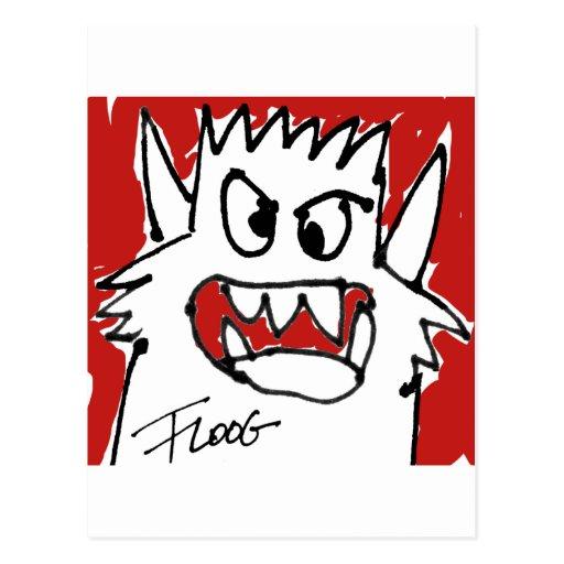 Monstruo rojo del dibujo animado postal