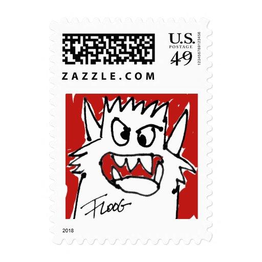 Monstruo rojo del dibujo animado sello