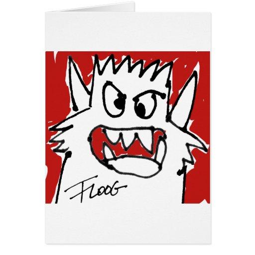 Monstruo rojo del dibujo animado tarjeta de felicitación