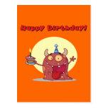Monstruo rojo divertido del feliz cumpleaños con l postal