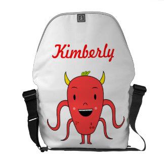 Monstruo rojo lindo bolsa de mensajería