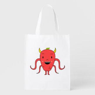 Monstruo rojo lindo bolsa de la compra