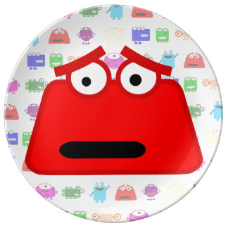 Monstruo rojo lindo del dibujo animado platos de cerámica