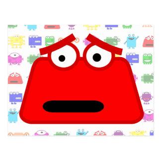 Monstruo rojo lindo del dibujo animado postal