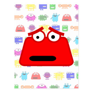 Monstruo rojo lindo del dibujo animado tarjeta postal