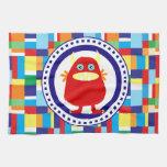 Monstruo rojo lindo en bloques coloridos del remie toallas
