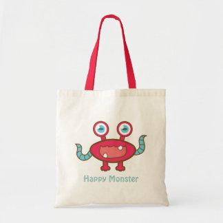 Monstruo rojo, lindo y feliz bolsa tela barata
