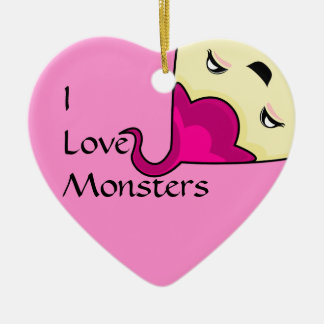 Monstruo rosado de las cosquillas de Kawaii Adorno De Cerámica En Forma De Corazón