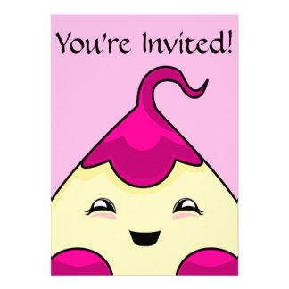 Monstruo rosado de las cosquillas de Kawaii Invitaciones Personalizada
