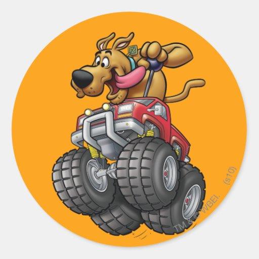 Monstruo Truck1 de Scooby Doo Pegatina Redonda