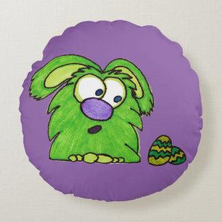 Monstruo verde cojín redondo