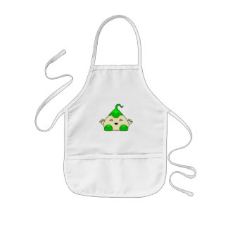 Monstruo verde de las cosquillas de Kawaii Delantal Infantil