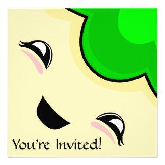 Monstruo verde de las cosquillas de Kawaii Invitación Personalizada
