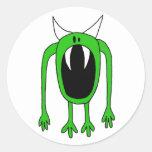Monstruo verde etiquetas redondas