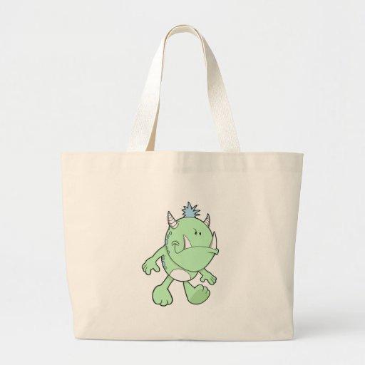 monstruo verde lindo del colmillo que pone mala ca bolsas