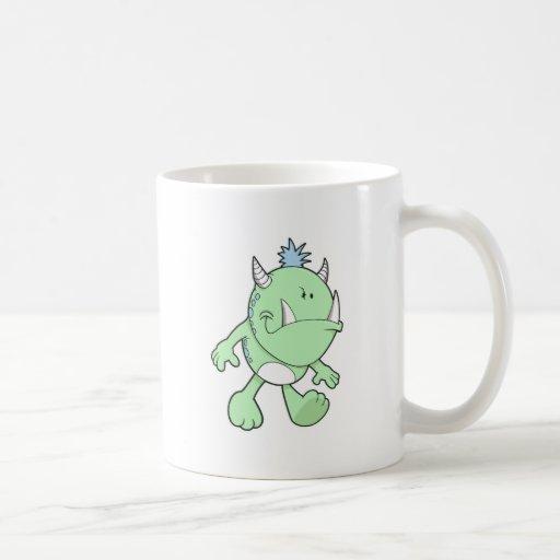 monstruo verde lindo del colmillo que pone mala ca taza básica blanca