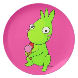 Monstruo verde lindo platos de comidas