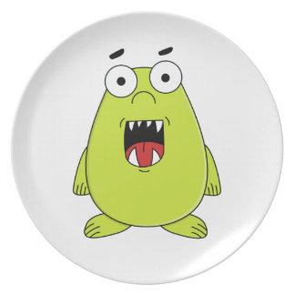 Monstruo verde lindo plato