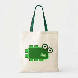 Monstruo verde oscuro lindo del dibujo animado bolsas