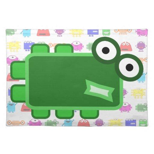 Monstruo verde oscuro lindo del dibujo animado mantel