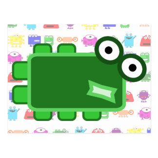 Monstruo verde oscuro lindo del dibujo animado postales