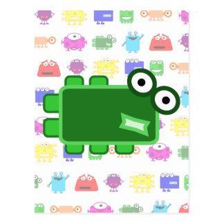 Monstruo verde oscuro lindo del dibujo animado tarjeta postal