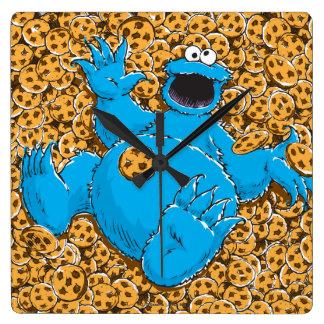 Monstruo y galletas de la galleta del vintage reloj cuadrado