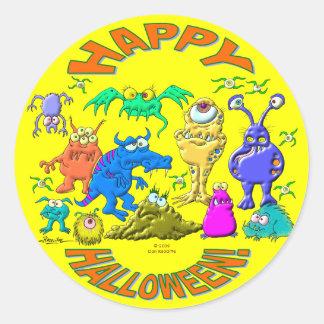 Monstruos de Halloween Pegatina Redonda
