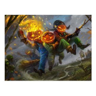 Monstruos de la cabeza de la calabaza de Halloween Tarjetas Postales