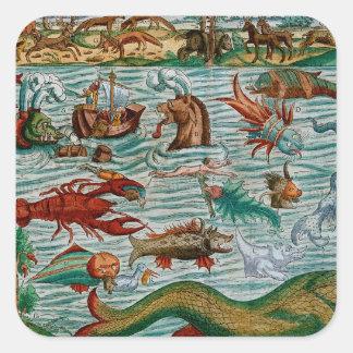 Monstruos de mar del vintage colcomanias cuadradases
