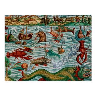 Monstruos de mar del vintage postales