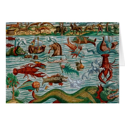 Monstruos de mar del vintage tarjeta
