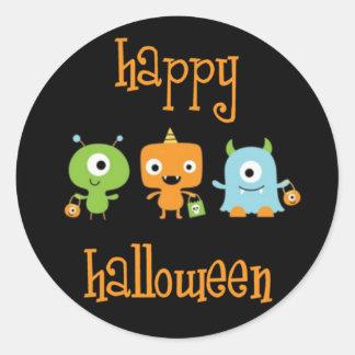 Monstruos del feliz Halloween Etiqueta Redonda
