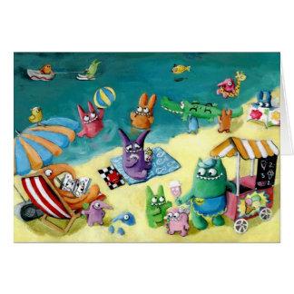 Monstruos en la playa tarjeta de felicitación