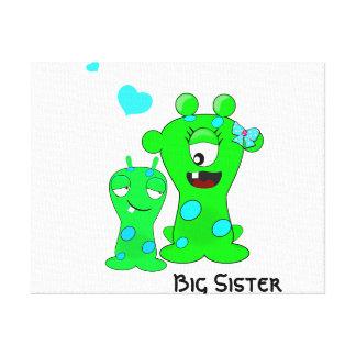 Monstruos hermana grande dibujo animado de peque impresiones de lienzo