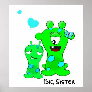 Monstruos, hermana grande, dibujo animado de peque póster